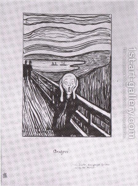 le cri lithographie 1895 by Edvard Munch - Reproduction Oil Painting