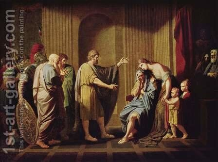 Kleombrotos sent into Exile by Leonidas II by Benjamin West - Reproduction Oil Painting