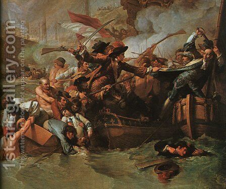 The Battle of La Hogue, detail by Benjamin West - Reproduction Oil Painting