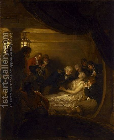 The Death of Lord Nelson in the Cockpit of the Ship 'Victory' by Benjamin West - Reproduction Oil Painting