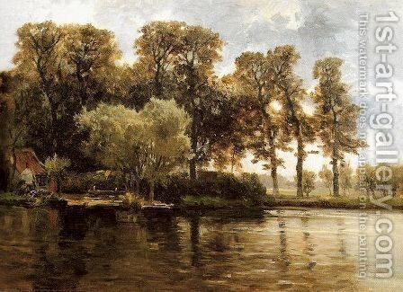 Canal by Carlos de Haes - Reproduction Oil Painting