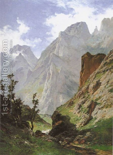 Paisaje de los Picos de Europa by Carlos de Haes - Reproduction Oil Painting