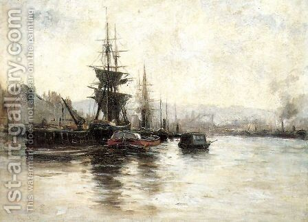 Puerto de Rouen by Carlos de Haes - Reproduction Oil Painting