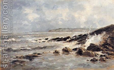 Rompientes de olas by Carlos de Haes - Reproduction Oil Painting