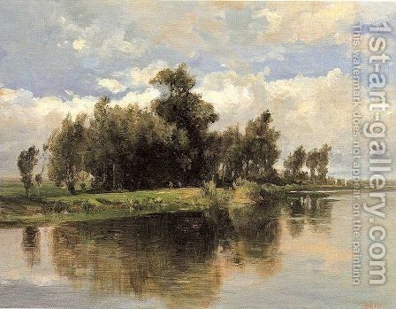 Un canal by Carlos de Haes - Reproduction Oil Painting