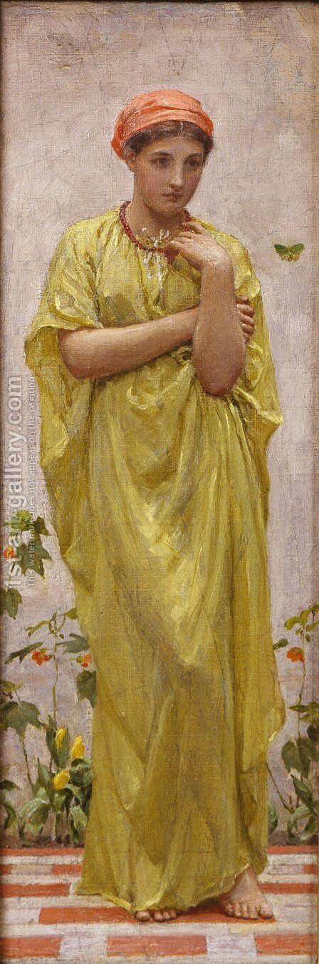The Green Butterfly by Albert Joseph Moore - Reproduction Oil Painting