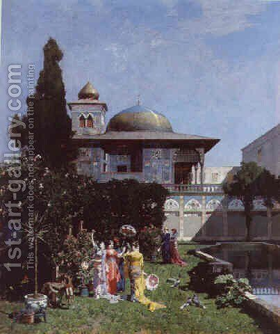 A corner of the garden in the harem by Alberto Pasini - Reproduction Oil Painting