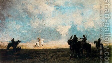 A hunt in the hawk by Alberto Pasini - Reproduction Oil Painting