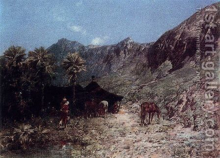 Campement arabe by Alberto Pasini - Reproduction Oil Painting