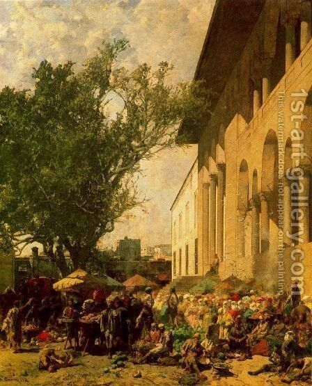 Market at Constantinople by Alberto Pasini - Reproduction Oil Painting