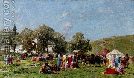 On the banks of the Bosphorus by Alberto Pasini - Reproduction Oil Painting