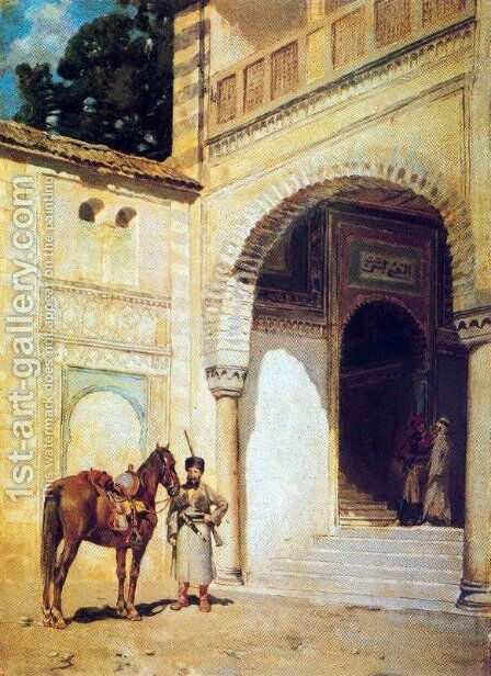 Rider at the entrance of a house by Alberto Pasini - Reproduction Oil Painting