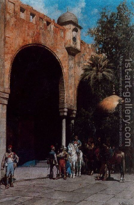 The Arrival of Pacha by Alberto Pasini - Reproduction Oil Painting