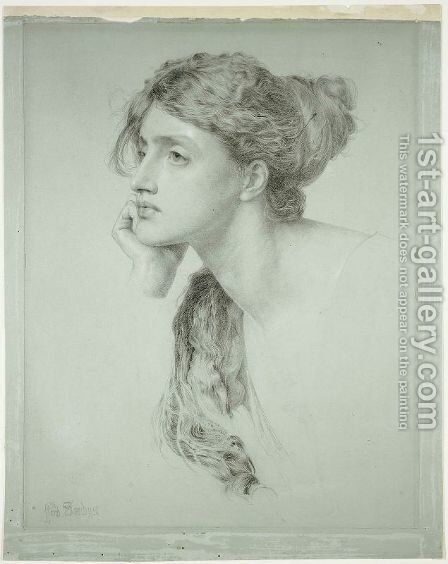 Study of a Woman's Head by Anthony Frederick Sandys - Reproduction Oil Painting