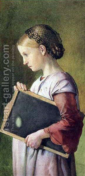 Girl holding a Slate by Charles West Cope - Reproduction Oil Painting