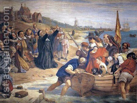 The Embarkation of the Pilgrim Fathers for New England by Charles West Cope - Reproduction Oil Painting