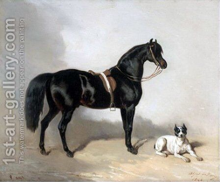 An Arabic horse and bulldogue by Alfred Dedreux - Reproduction Oil Painting