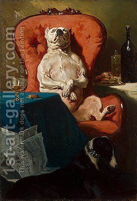 Pug Dog in an Armchair by Alfred Dedreux - Reproduction Oil Painting