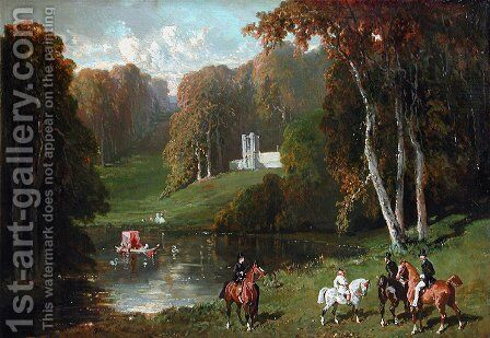 Riders and Amazones at the edge of a lake by Alfred Dedreux - Reproduction Oil Painting