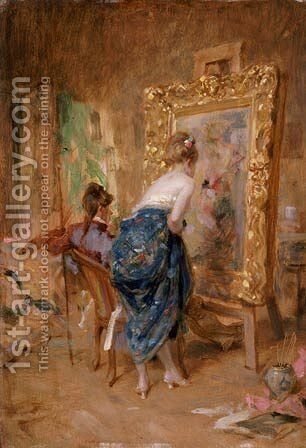 The Artist's Model by Charles Bargue - Reproduction Oil Painting