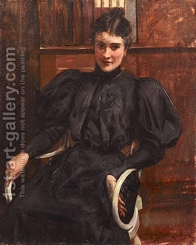 Portrait of a Lady by James Carroll Beckwith - Reproduction Oil Painting