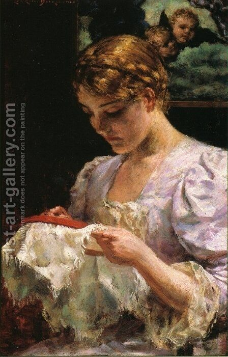The Embroiderer by James Carroll Beckwith - Reproduction Oil Painting