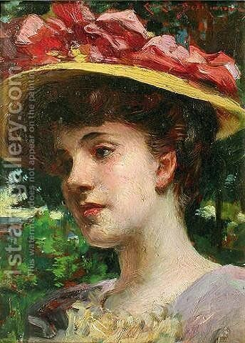 The Straw Hat by James Carroll Beckwith - Reproduction Oil Painting