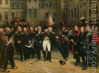 Napoleon I 1769-1821 Bidding Farewell to the Imperial Guard in the Cheval-Blanc Courtyard at the Chateau de Fontainebleau by Antoine Alphonse Montfort - Reproduction Oil Painting