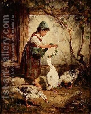 The Goose Girl by Antonio Montemezzano - Reproduction Oil Painting
