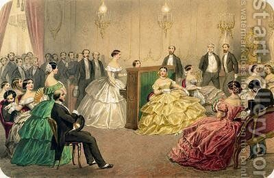 Concert at the Chausee dAntin from the Soirees parisiennes series by Henri de Montaut - Reproduction Oil Painting