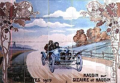 Naudin driving a Sizaire et Naudin car in the Light Car Cup of 1907 by Ernest Montaut - Reproduction Oil Painting