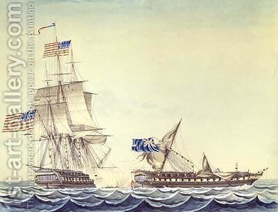 Naval engagement between the U S Frigate Constitution and H M Frigate Java by Montardier - Reproduction Oil Painting