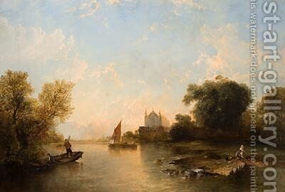 Eton College From The River by Alfred Montague - Reproduction Oil Painting
