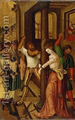 The Flagellation of St Catherine 1514 by H.G. Monogrammist - Reproduction Oil Painting