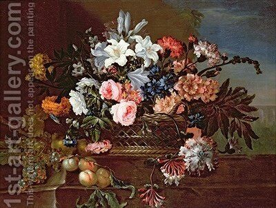 Still Life of Flowers in a Basket by Antoine (Baptiste M.) Monnoyer - Reproduction Oil Painting