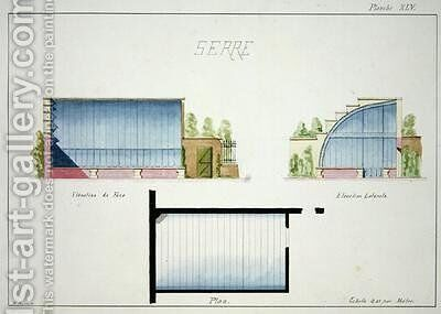 Design for a hothouse with curved glass walls and roof by H. Monnot - Reproduction Oil Painting