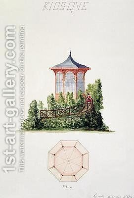 Design for a pavilion in simplified oriental style from a folio of original drawings in classical and early Belle-Epoque styles by H. Monnot - Reproduction Oil Painting