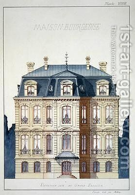 Front elevation of a house for the Bourgeoisie by H. Monnot - Reproduction Oil Painting
