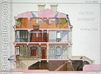 Cross section of house for the Bourgeoisie by H. Monnot - Reproduction Oil Painting