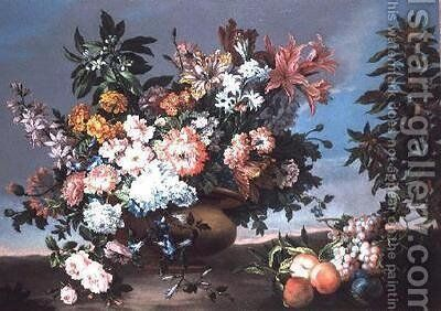 Flowers and Fruit by Jean-Baptiste Monnoyer - Reproduction Oil Painting