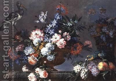 A Still Life of Fruit and Flowers with Birds by Jean-Baptiste Monnoyer - Reproduction Oil Painting