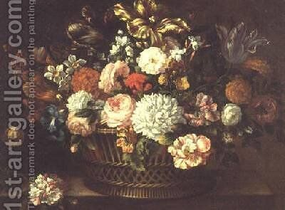 Peonies tulips narcissi and other flowers in a basket by Jean-Baptiste Monnoyer - Reproduction Oil Painting