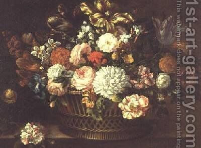 Peonies tulips narcissi and other flowers in a basket 2 by Jean-Baptiste Monnoyer - Reproduction Oil Painting