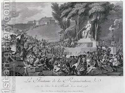 The Fountain of Regeneration over the Ruins of the Bastille by (after) Monnet, Charles - Reproduction Oil Painting