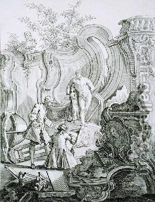Craftsmen working on designs from Rococo Ornament by (after) Mondon, Jean - Reproduction Oil Painting