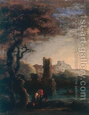 Landscape with tower figures and boat by Jan de Momper - Reproduction Oil Painting
