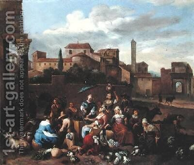 Vegetable Market in Italy by Hendrik Mommers - Reproduction Oil Painting
