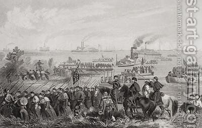 The landing of troops on Roanoke Island during the American Civil War North Carolina 1862 by (after) Momberger, William - Reproduction Oil Painting