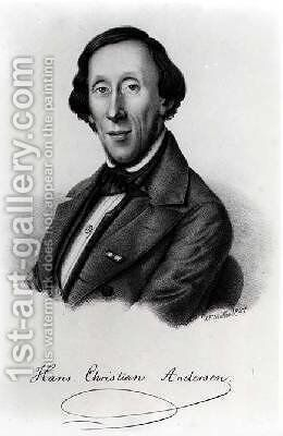 Portrait of Hans Christian Andersen 1805-1875 by (after) Moller, Johan Frederick - Reproduction Oil Painting