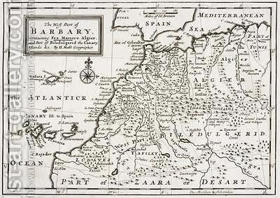 Map of The West Part of Barbary 1720 by Hermann Moll - Reproduction Oil Painting